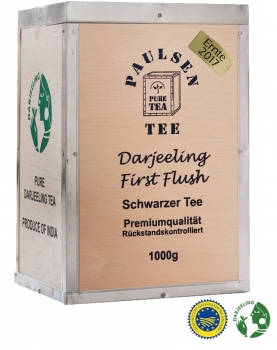 Darjeeling First Flush, Ernte 2018, 1000g, in dekorativer Teekiste